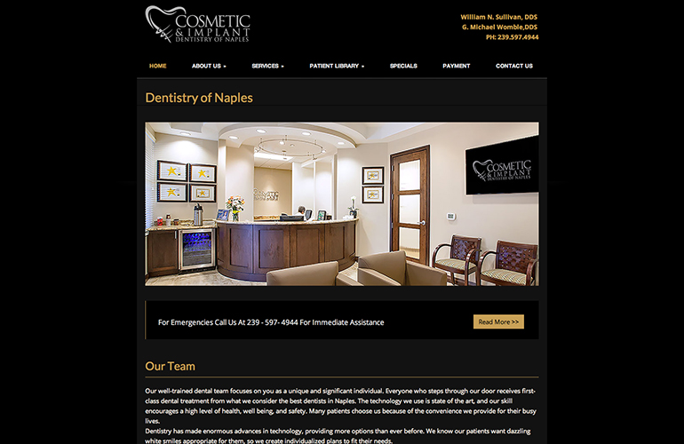 web design and multimedia project cosmetic and implant dentistry of naples