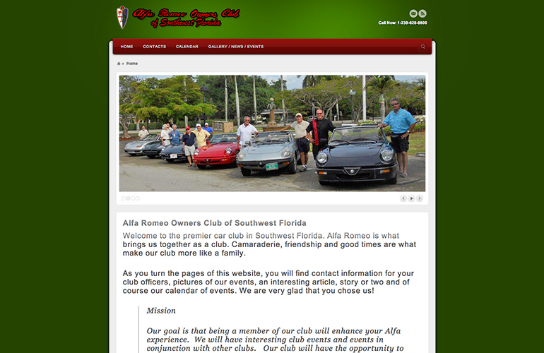 web design project alpha romeo owners club of southwest florida