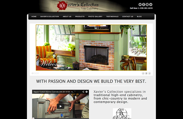 web design project xaviers collection fine cabinetry